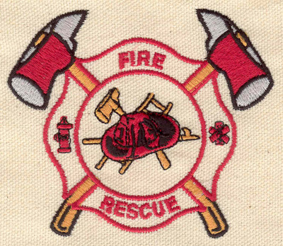 Embroidery Design: Fire and rescue shield 3.55w X 3.05h
