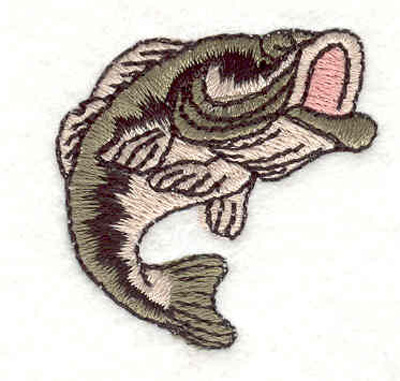 """Embroidery Design: Large mouth bass 1.48""""w X 1.48""""h"""