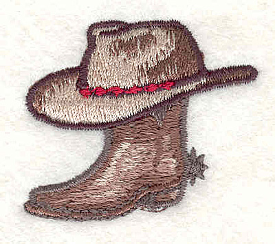 """Embroidery Design: Cowboy hat and boot1.61""""H x 1.86""""W"""