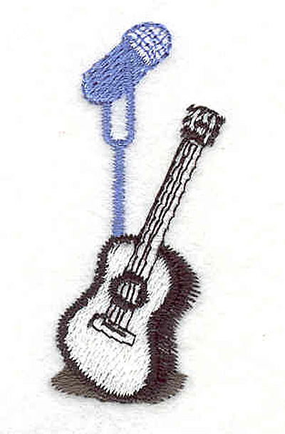 """Embroidery Design: Microphone and Acoustic Guitar 2.11"""" X 0.96"""""""