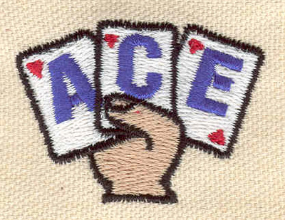 Embroidery Design: Ace 1.87w X 1.32h