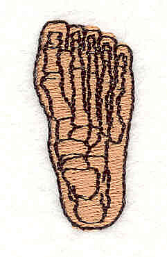 """Embroidery Design: Foot Skeleton1.50"""" x 0.72"""""""