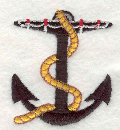 """Embroidery Design: Anchor with rope F 1.85""""w X 2.11""""h"""