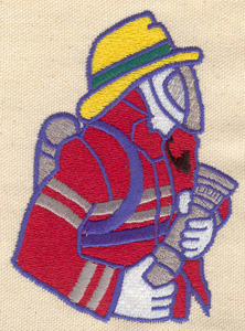 Embroidery Design: Fireman with hose large 3.14w X 4.29h