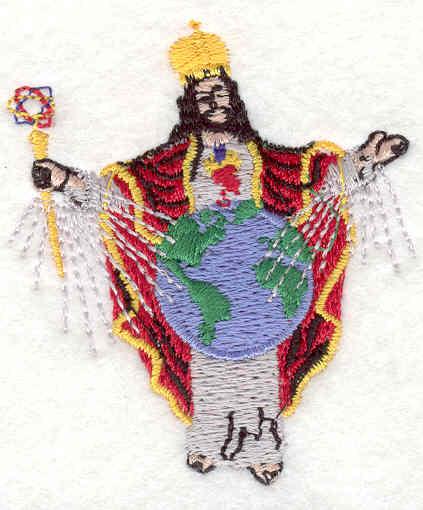 "Embroidery Design: Priest with globe 2.02""w X 2.33""h"