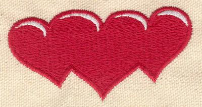 Embroidery Design: Heart trio 3.04w X 1.59h