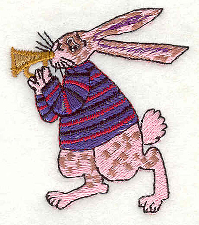 """Embroidery Design: Rabbit playing horn 2.06""""w X 2.37""""h"""