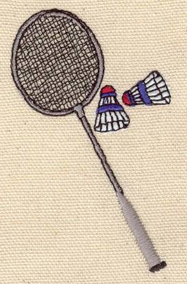 Embroidery Design: Badminton raquet with birdies 1.96w X 3.30h
