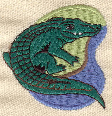 Embroidery Design: Alligator resting on shore2.18w X 2.20h