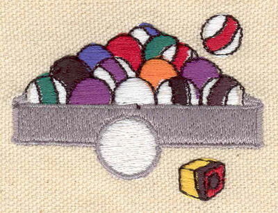 Embroidery Design: Billiard rack of balls 2.35w X 1.73h