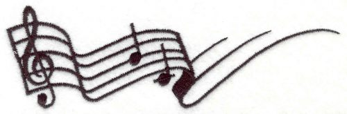"""Embroidery Design: Treble Clef with notes  1.77"""" X 0.65"""""""