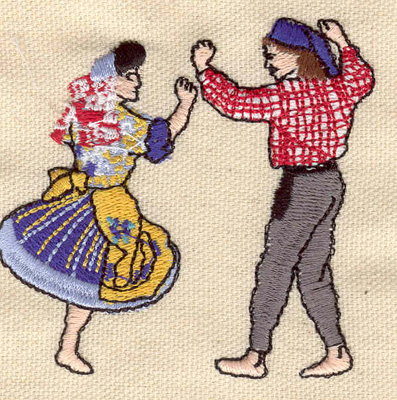 Embroidery Design: Folk Dancers 2.85w X 2.74h
