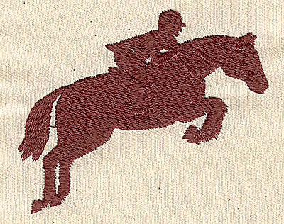 Embroidery Design: Horse and rider jumping2.31in. H x 2.82in. W