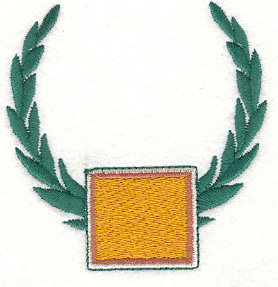 """Embroidery Design: Wreath and Rectangle 3.12"""" X 3.02"""""""