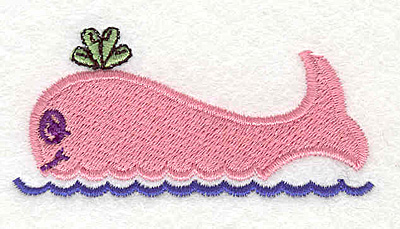 """Embroidery Design: Whale pink 2.85""""w X 1.36""""h"""
