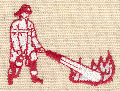 Embroidery Design: Firefighter with extinguisher 2.43w X 1.84h