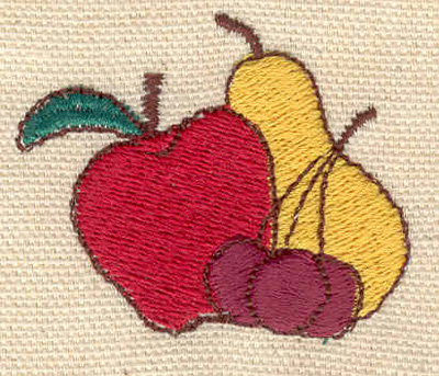 Embroidery Design: Apple pear cherries 1.87w X 1.53h