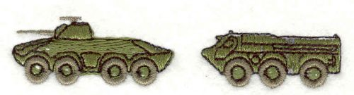 Embroidery Design: Tank and Troopcarrier0.73w X 3.54h