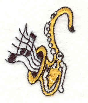 "Embroidery Design: Saxophone 1.52"" X 1.25"""