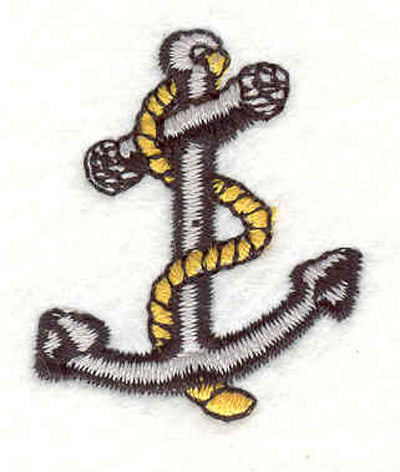 """Embroidery Design: Anchor with rope H 1.31""""w X 1.57""""h"""