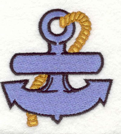 """Embroidery Design: Anchor with rope I 2.60""""w X 2.69""""h"""