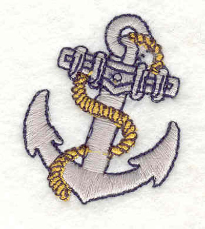 """Embroidery Design: Anchor with rope J 1.44""""w X 1.64""""h"""