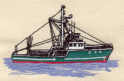 Embroidery Design: Fishing Boat 3.85w X 2.32h