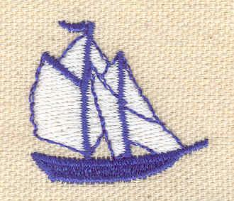 Embroidery Design: Sail boat 1.25w X 1.16h