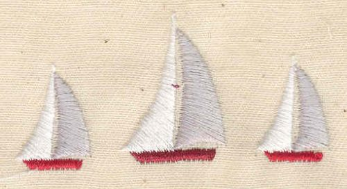 Embroidery Design: Three sailboats 2.34w X 1.15h