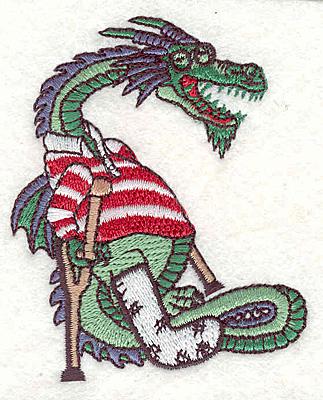 """Embroidery Design: Dragon with broken leg3.19""""Hx2.56""""W"""
