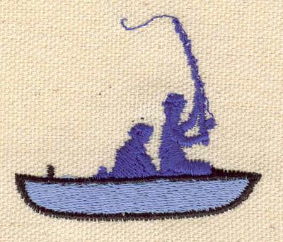 Embroidery Design: Fishermen in boat 2.04w X 1.72h