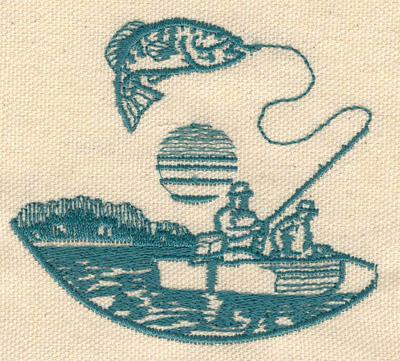 Embroidery Design: Fishing scene 3.20w X 2.85h