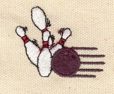 Embroidery Design: Bowling ball and pins 1.79w X 1.40h