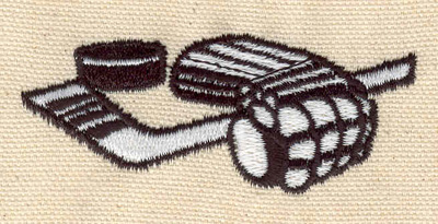 Embroidery Design: Goalie glove stick and puck 2.99w X 1.22h