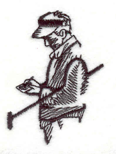 """Embroidery Design: Golfer with score card 1.65""""w X 2.30""""h"""