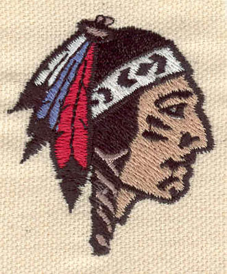 Embroidery Design: Indian head B 1.69w X 1.93h