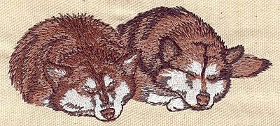 Embroidery Design: Huskies  4.64w X 2.09h