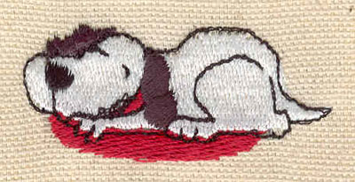 Embroidery Design: Dog in bed 1.98w X 0.94h