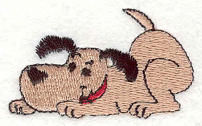 """Embroidery Design: Dog crouching 1.22"""" X 2.04"""""""