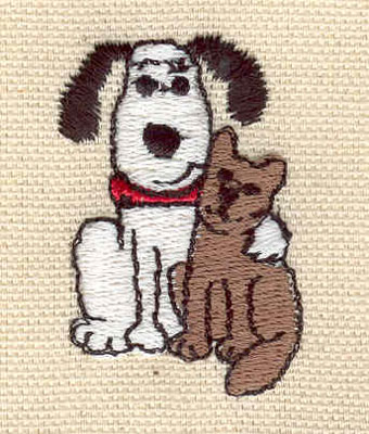 Embroidery Design: Dog with cat 1.15w X 1.71h