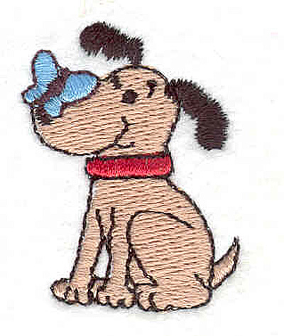 """Embroidery Design: Dog with Butterfly 1.62"""" X 1.20"""""""
