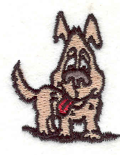 """Embroidery Design: Dog panting 1.85"""" X 1.56"""""""