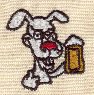 Embroidery Design: Dog with beer 1.99w X 2.09h