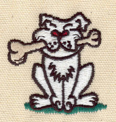 Embroidery Design: Dog with bone 1.40w X 2.00h