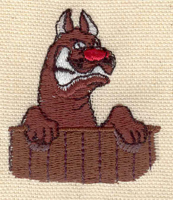 Embroidery Design: Dog behind fence1.70w X 2.00h