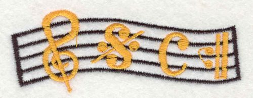 """Embroidery Design: Music 1.32"""" X 3.68"""""""