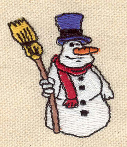 Embroidery Design: Snowman with broom 1.50w X 1.79h