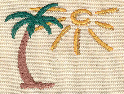 Embroidery Design: Palm tree with sun 2.92w X 2.25h