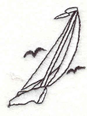 """Embroidery Design: Sailboat E 1.32""""w X 1.72""""h"""