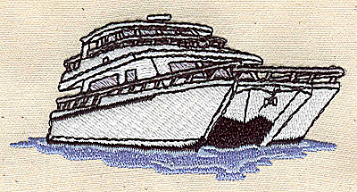 Embroidery Design: Yacht 3.25w X 1.63h